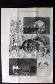 ILN 1880 Antique Print. Sketches in the St. Gotthard Tunnel, Switzerland